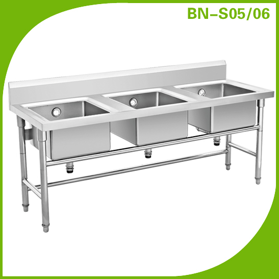 Free Standing Restaurant Stainless Steel Kitchen Sink Bench - Stainless steel dishwasher table