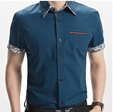 Men fashion high quality embroidery design casual shirts wholesale