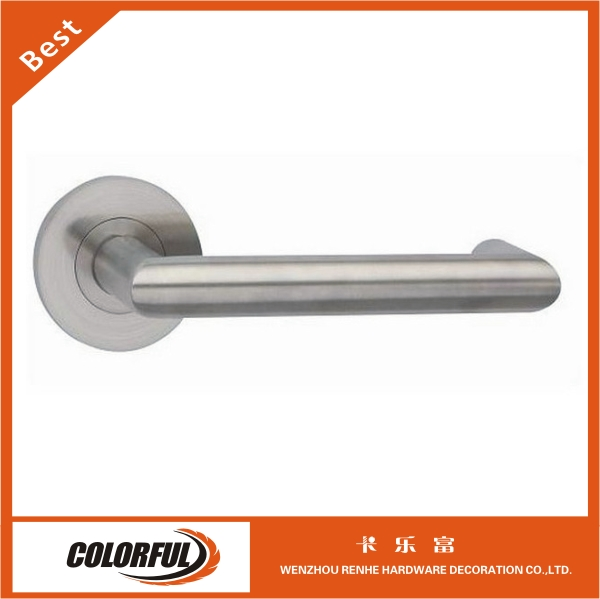 Brushed hollow stainless steel lever door handles for fireproof door
