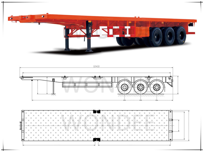 Container Flatbed High Quality 3- Axle Semi Trailer