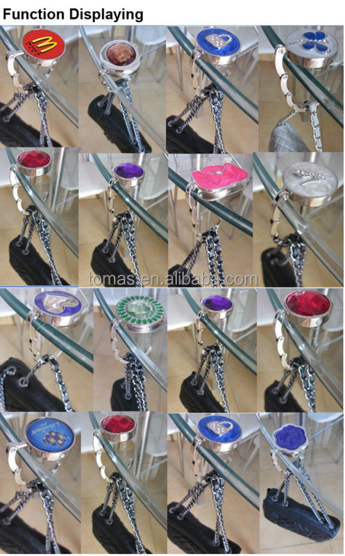 Fashion design round shape metal foldable bag holders for table