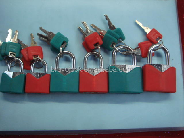 Plastic Coated Brass Padlock Multi color