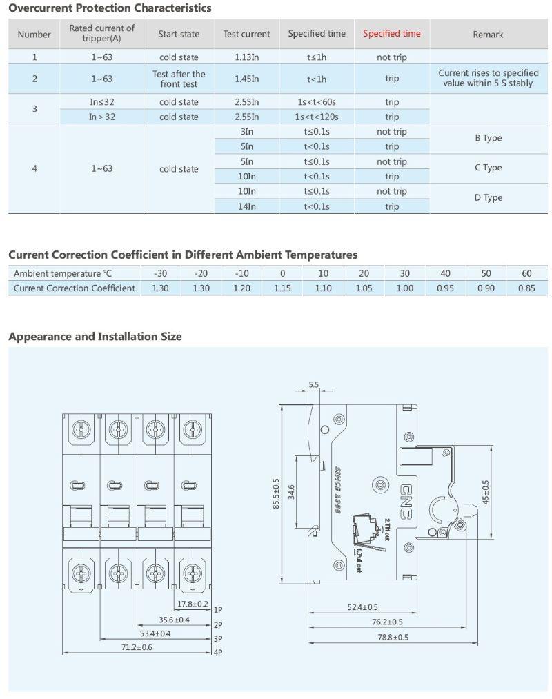 Latest 6ka 10ka Ycb9 63h Electronic Mini Circuit Breaker Mcb Panel Board Schematic 1p 2p 3p 4p