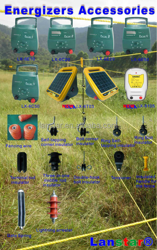 Zoo security fencing Lanstar solar powered farm electric fence energizer/ energiser