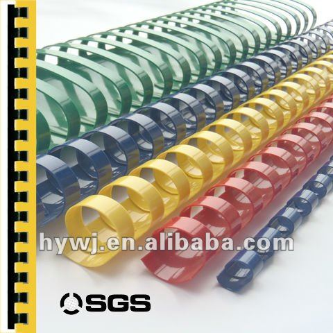 pvc 6mm-51mm colorful spiral PVC plastic binding comb rings
