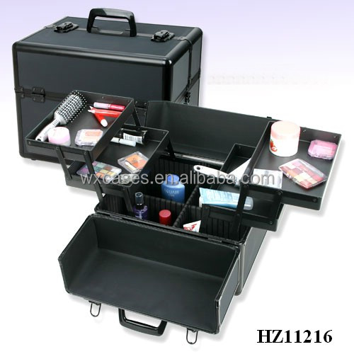 full black luxury aluminum cosmetic case,best-seller since 2016
