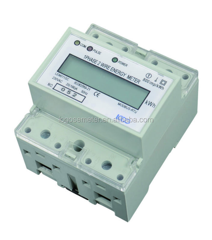 Modbus Din Rail Single Phase Lcd Energy Meter / Electricity Meter ...