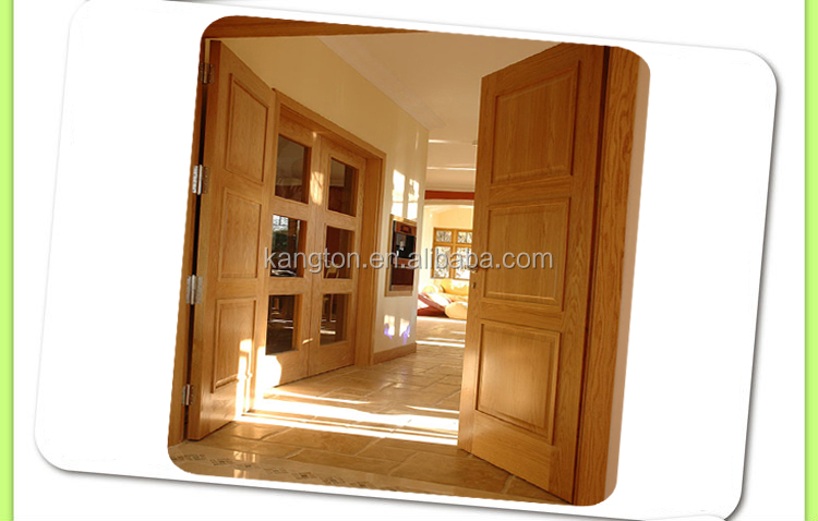 2016 Kangton Top Quality Interior Door with Glass Inserts, Wood Glass Design Interior Door, Oak Interior Door