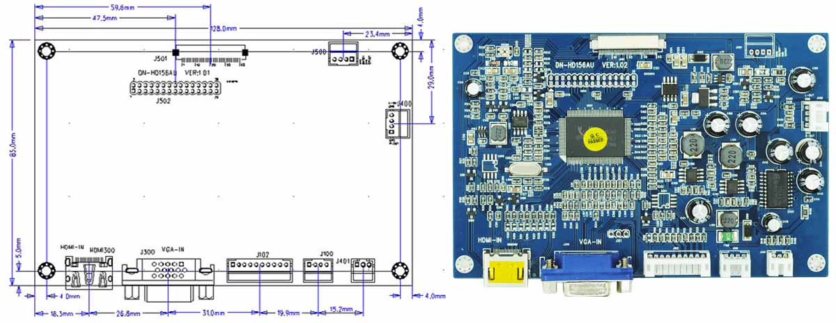 7inch Lcd Module With Vga Input,1024x600,Support 1920x1080 Gdn ...