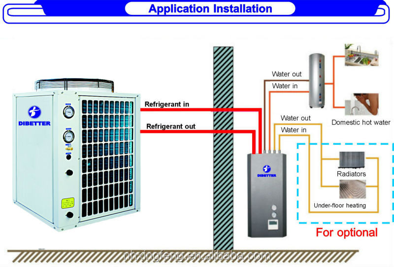 12kw Split EVI heat pump(COP 4.2,Sanyo or Copeland compressor)