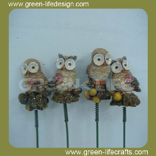 Vivid owl decor resin outdoor garden stakes