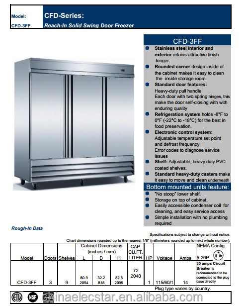 Reach-in solid swing door freezer, Conforms to UL/NSF and Stainless Steel finish