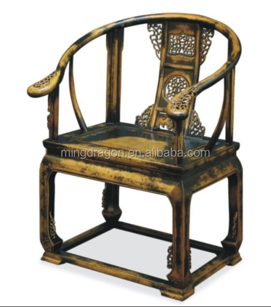 Wholesale antique solid wood hand carved black arm chair