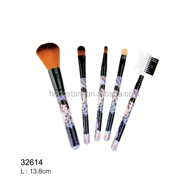 Meidao Beautiful Custom Handle 5 pcs Personalized Cosmetic Makeup Brush Set