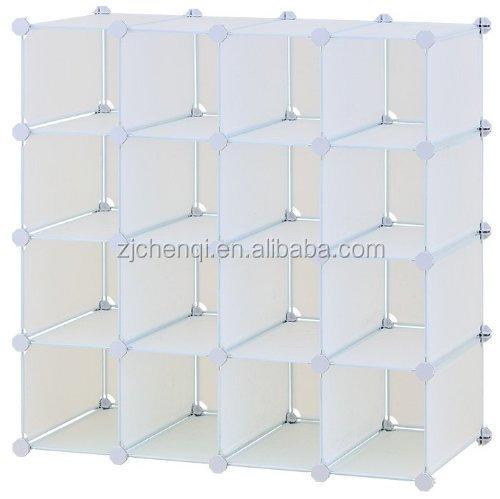 Superior DIY Plastic Shoe Rack Closet 16 Cubes Stackable Storage Organizer TM 639