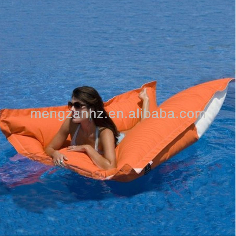 Outdoor water floating beanbag bed with a floating pillow