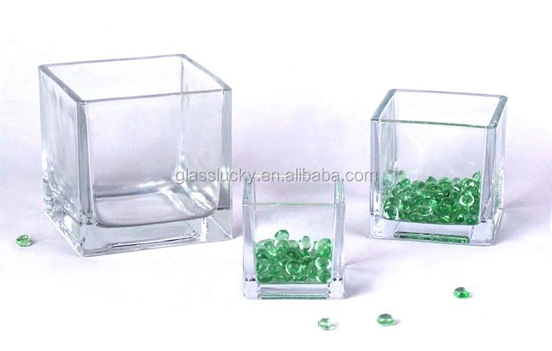 Alta Transparente Homem Soprado Vaso De Vidro Quadrado
