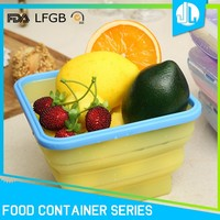 Collapsible microwaveable silicone food heat resistant storage containers