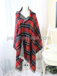 Autumn single-sided lattice choke small pepper super thick warm cashmere shawl
