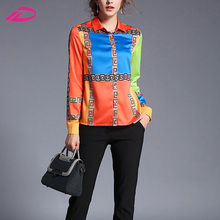 Women Spring Autumn Shirt Long Sleeve Colorful Print Ladies Work Wear Blouse