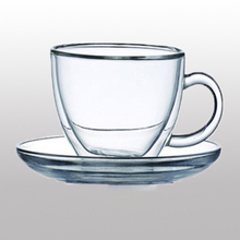 Double wall insulated glass mug coffee cup tea cup latte cup with saucer