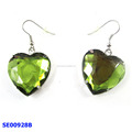 green heart shape rhinestone drop earrings and latest design crystal drop earrings