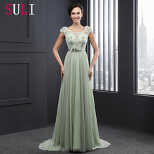SL2013 2016 Mint Chiffon Short Sleeve Formal Backless Lace Evening Dress
