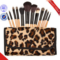 Leopard Pattern Cosmetic Tool Stock Make Up Brush China Supplier 12pc/set Makeup Brush Set for Girls