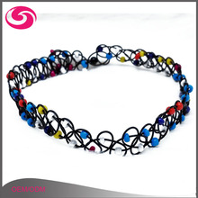 New Braided Plastic Net Line Sexy Neck Colorful Beads Tattoo Choker