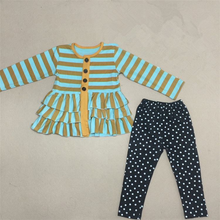 Top fashion custom design stripes fold kids clothes girls