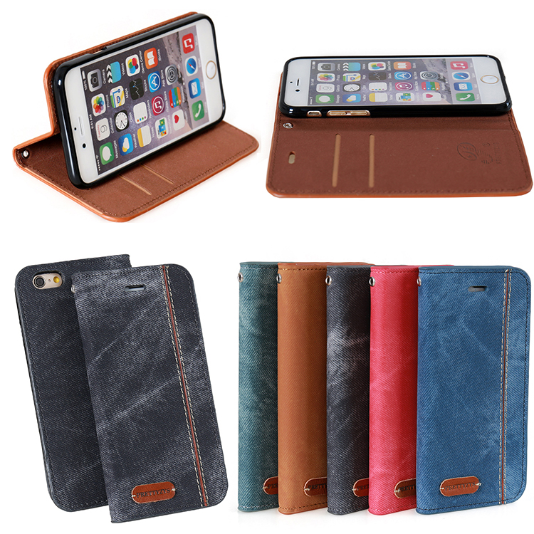 Strong Magnet Cowboy Card Slot Holder Flip Denim Fabric Magnetic Phone Case For iPhone 5 5s SE i6 6plus 6S 6S plus