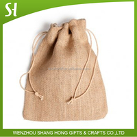 natrual fabric jute jewelry pouch jute bag wholesale/drawstring pouch/draw string bag