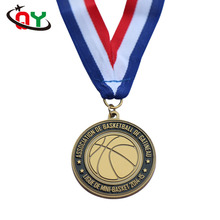 low price hot sale high quality round metal sports medal soft enamel gold basketball race medal