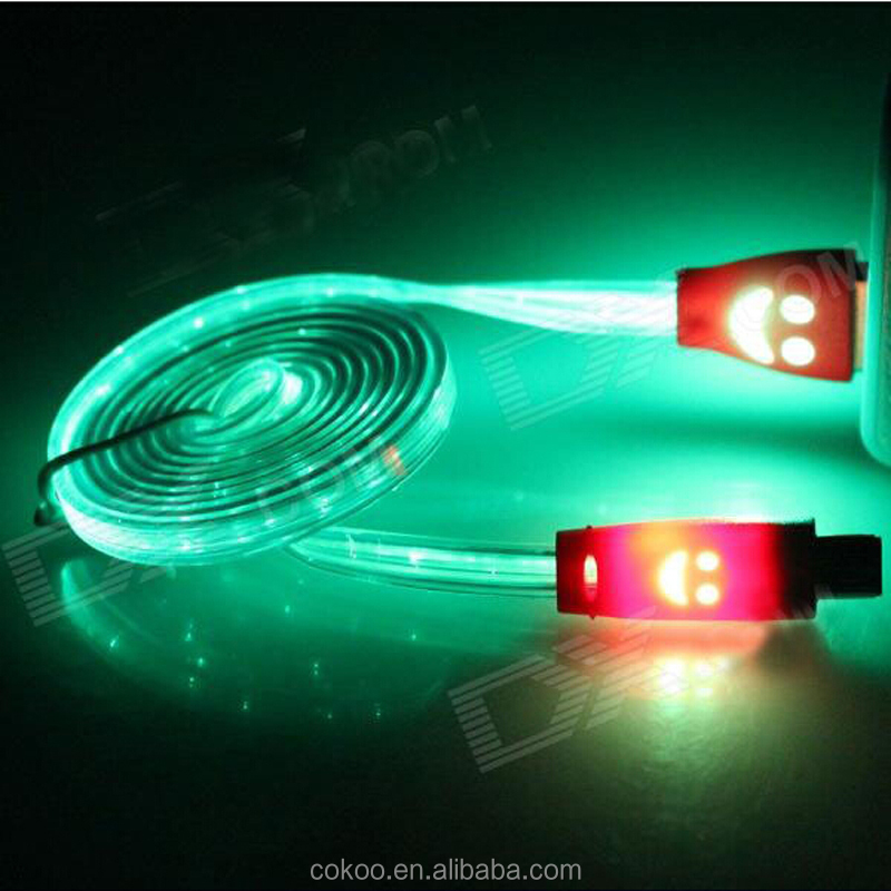 China Alibaba Top quality el Led glowing USB charging cable for mobile phone ,IOS system and Android