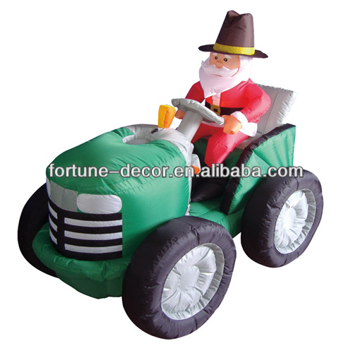 120cm inflatable Santa claus driving tractor/car