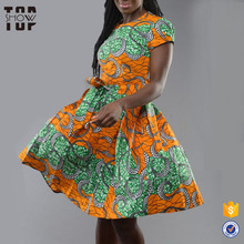 China supplier custom knee length pleated african traditional wax print dresses