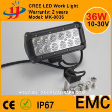 36W LED crees 3w*pieces light bar 10-30V waterproof led off road lamp