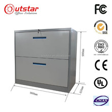 Modern commercial two lateral drawers Steel filing Storage cabinet used Kitchen wide storage Cabinet