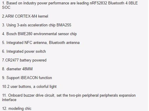 NRF52832 Bluetooth wireless acceleration sensor tag