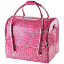 Pink Crocodile Makeup Train Bag Handbag Case w/ Removable Tray Cosmetic Jewelry