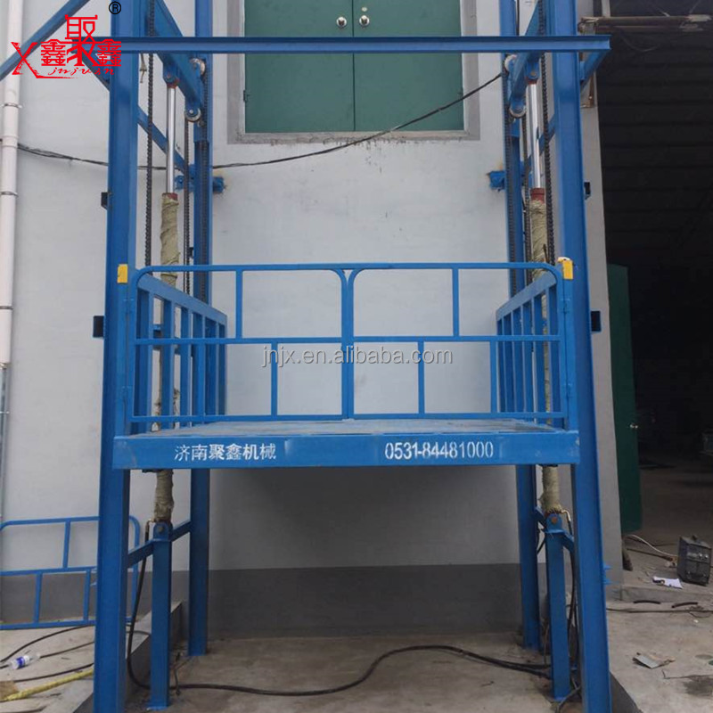 1000kg indoor outdoor hydraulic vertical guide rail used cargo lift elevator with professional drawing
