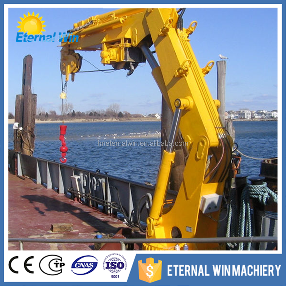 Knuckle boom electric hydraulic boat lifting marine deck cranes
