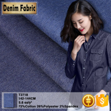 T2718 5.6oz Washed Cotton Poly Spandex Elastane Denim Fabric Manufacturer