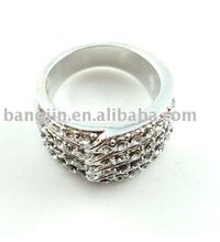 2010 Alloy ring,CZ stone ring pd plating