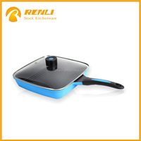 Stocklots aluminum nonstick square grill pan With marble coating/Cookware induction cooking pot