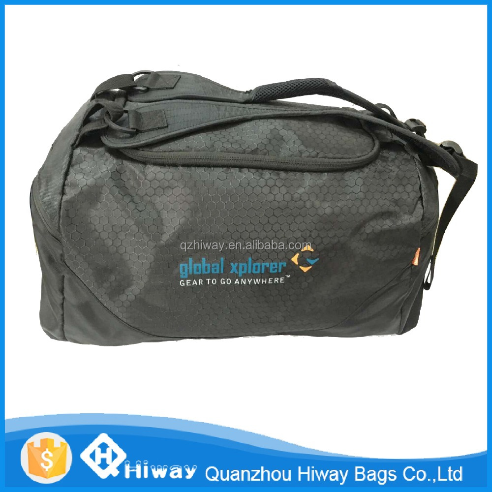 Custom Function Sport Polyester Travel Duffle Bag with convertible handle & shoulder strap
