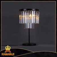 transparent crystal with black steel base table lamps