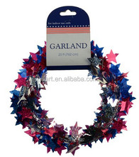 Patriotic Star shaped Foil Wire Garland /home Decoration on US National Day