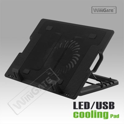 portable folding laptop cooling stand pad adjustable riser fan USB hub notebook
