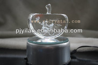 elegent LED light rotary base clear crystal laser apple for wedding gift